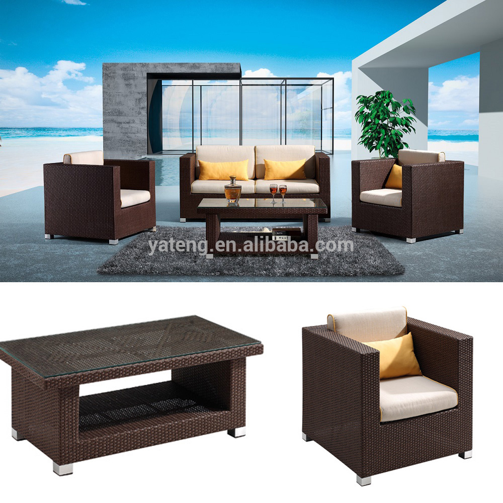Top sales cane rattan living room sofa set furniture outdoor sectional sofas furniture