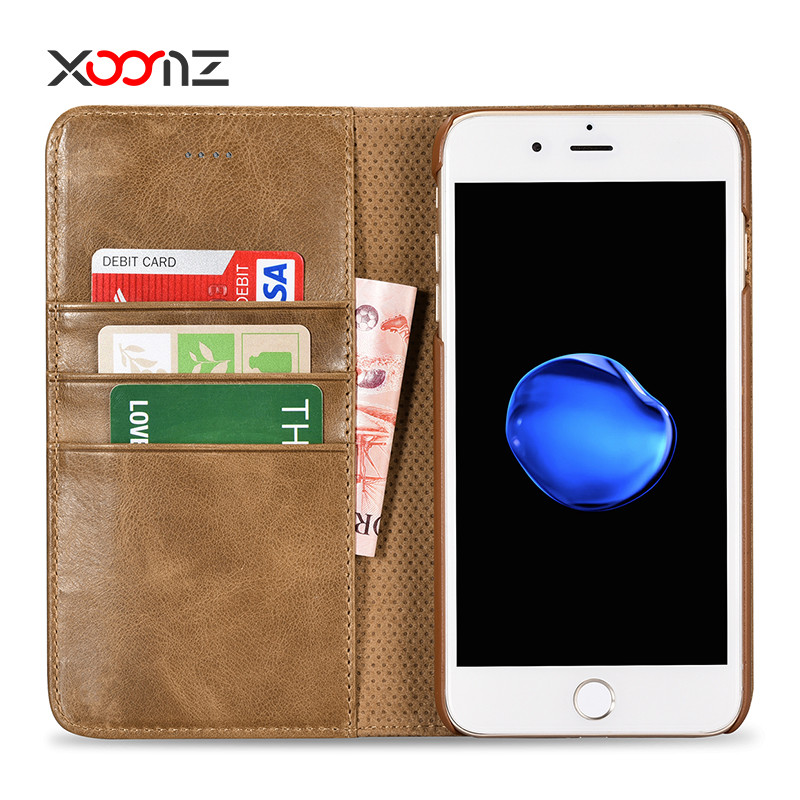 XOOMZ Genuine Leather Flip Wallet Phone Case for iPhone 7 Plus