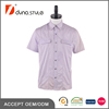95% Cotton 5% Spandex Lycra Solid Lilac Flap Pocket men Short Sleeve Shirt