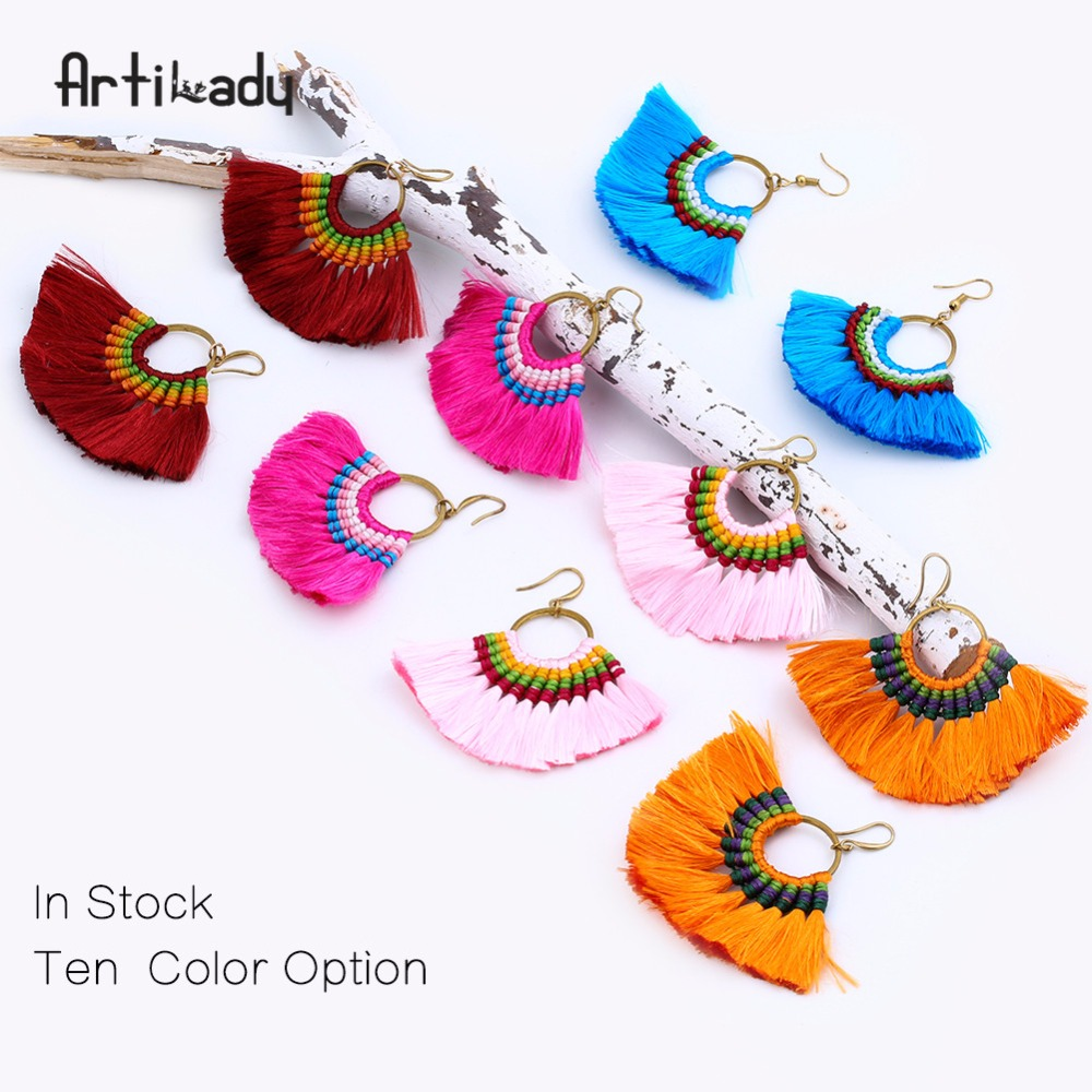 Artilady factory directly supplier 2017 Fuschia Tassel Fan Festival Tassel Earrings ,BOHO Earrings Gypsy Wholesale <strong>Jewelry</strong>