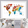 World Map Scratch Off Wall Art Poster atercolor World Map Travel Tracker Large 60x80cm Gift For Travelers Travel of world Map