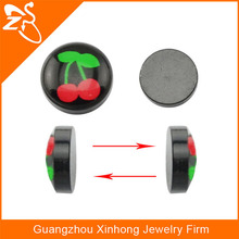 cherry non piercing korean style 8mm,10mm black magnetic ear studs fake cheater ear plugs