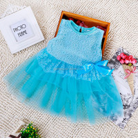 New design lovely vintage lace flower baby girl party dress QGD-1503