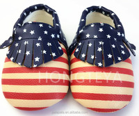 wholesale soft sole handmade America flag style pu leather baby moccasins newborns shoes