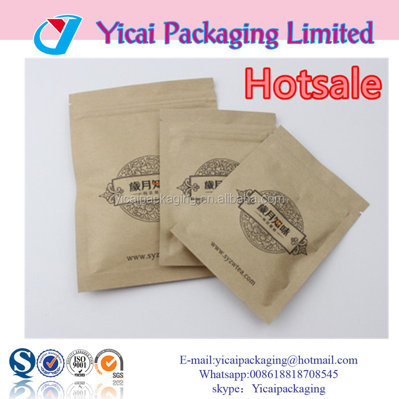 2016 Popular Customized Resealable Tea Kraft Paper Stand up Zipper Pouch for Food Packaging