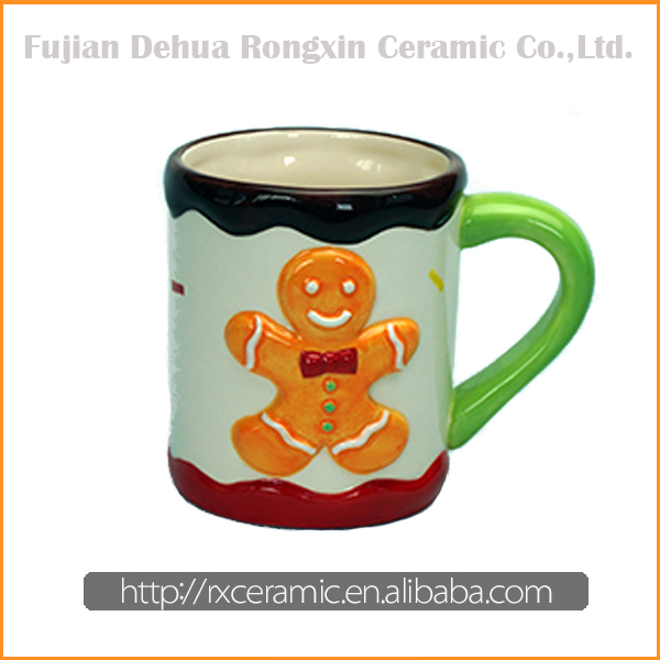Christmas series 3D hand-painted wholesale ceramic mugs for promotion