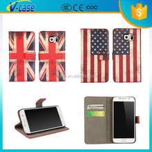 2015 New fashion arrival Retro flag wallet mobile phone leather case for Samsung S6