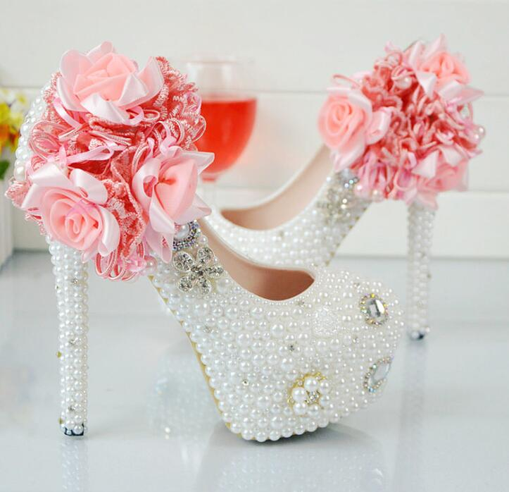 zm11034a crystal shoes pink lace flower women wedding shoes handwork ladies high heel platform shoes