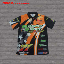 Multicolored dye sublimation racing pit crew shirts