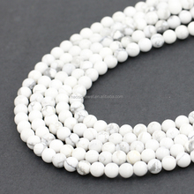 Alibaba hot selling fashion round polished howlite gemstone beads loose beads for jewelry making
