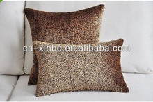 Brown oblong Large leopard Stripe Splice velvet Sofa cushion case