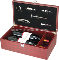 best sales 2 bottle MDF wooden wine box with 6wine accessories
