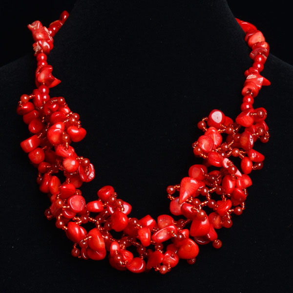 Red coral stone Gemstone Beads Necklace