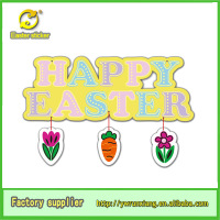 """happy easter ""glitter letters sticker with carrot hanging decoration made in china yiwu city"