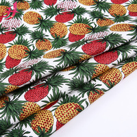 Good quality woven elastic twill pineapple print fabric cotton