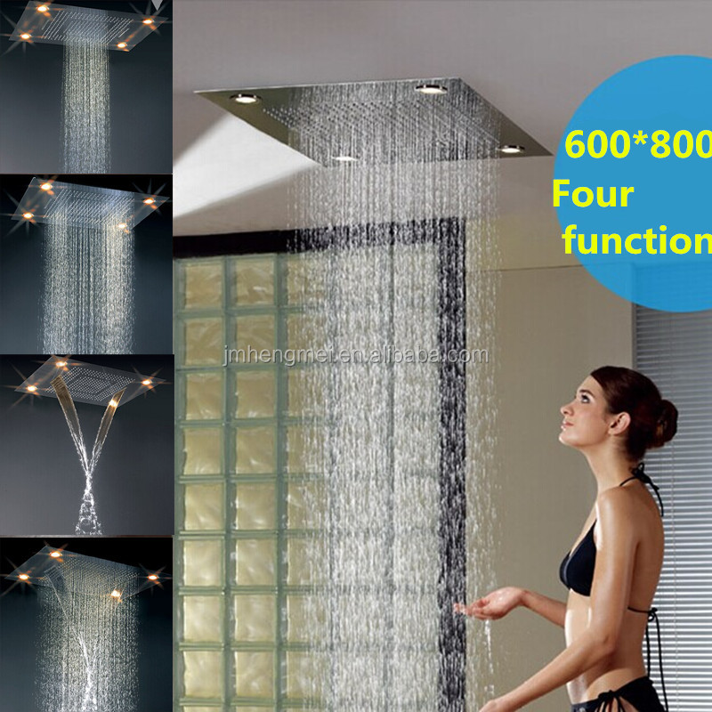 2016 hot sell sanitary ware rainfall waterfall led ceiling rain shower stainless steel shower head