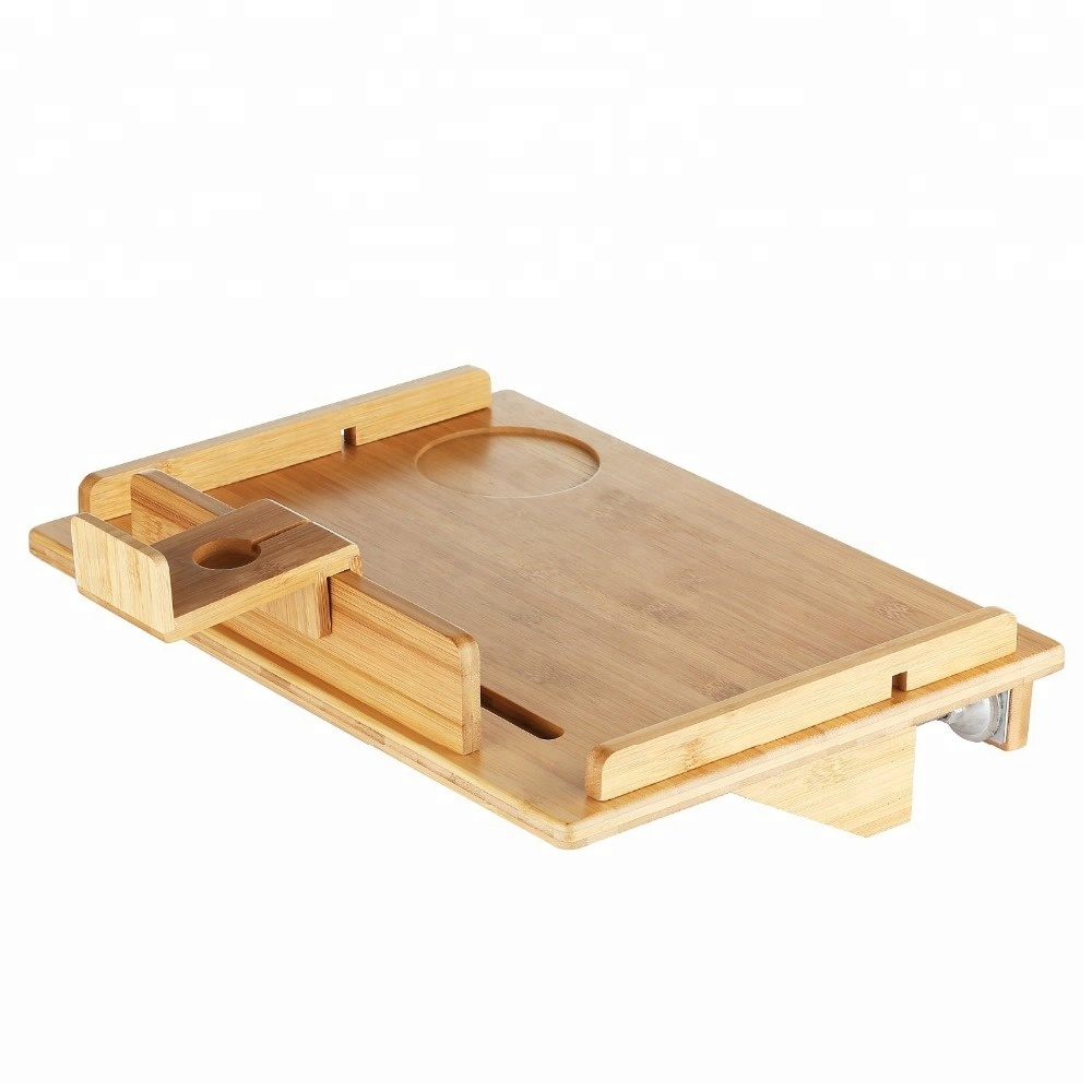 new design dark color Bamboo Bunk Buddy storage Bedside Tray <strong>Shelf</strong> For Bed