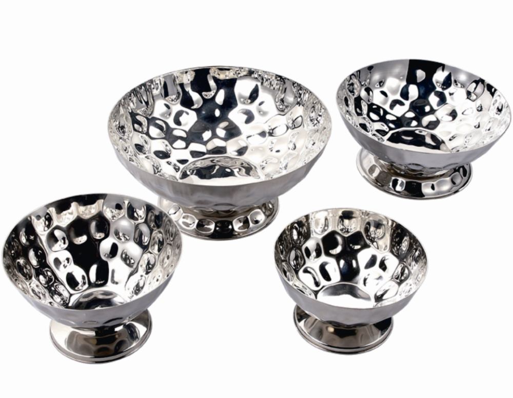 Whole Fancy Hammered Stainless Steel Decorative Silver Plated Metal Fruit Bowl