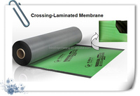 Cross laminated film roll for self adhesive waterproof membrane