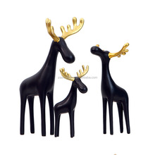 New 2017 Custom Resin Crafts Animal Deer Statue With Black Gold Christmas Decorations Home For Hotel OEM ODM Project