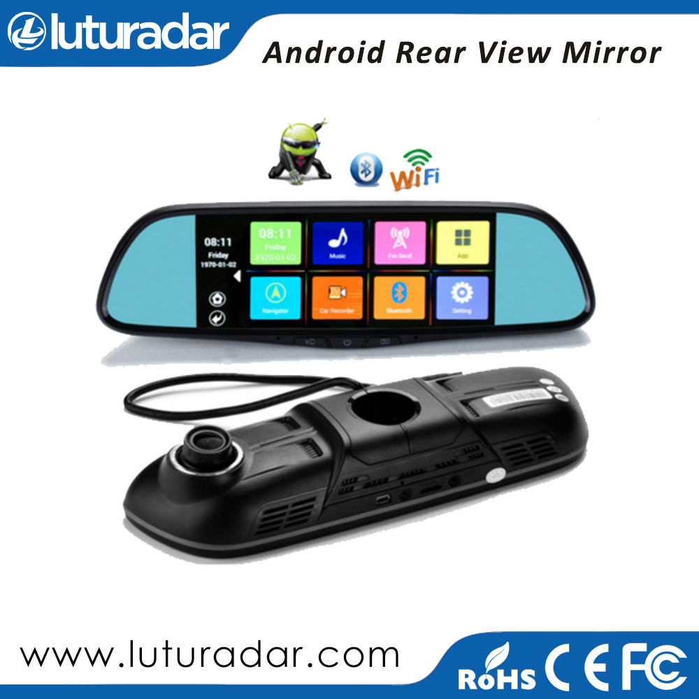 7.0 inch Android 4.4 system rearview mirror gps navigation dual camera car rearview mirror camera dvr