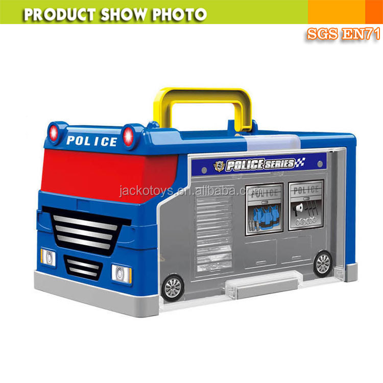 Police car parking lot toy police car style suitcase with 2 cars