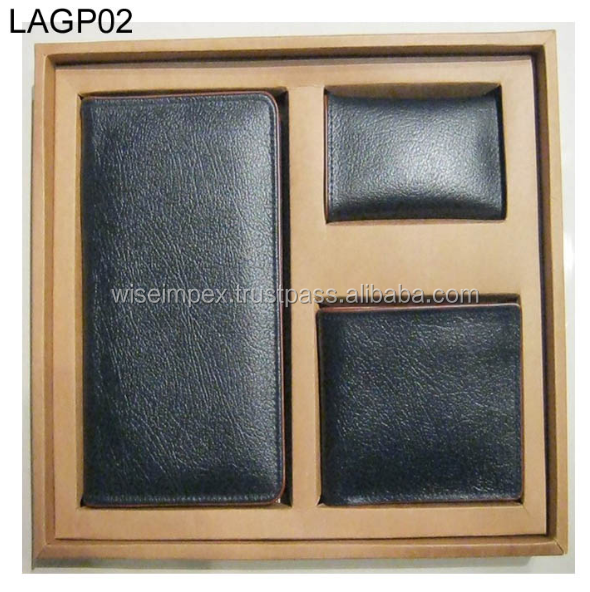 Black leather wallets and Purse gift packs available customization