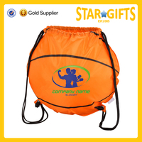 Round Shape Polyester Basketball Sport Drawstring Bag With Metal Grommets