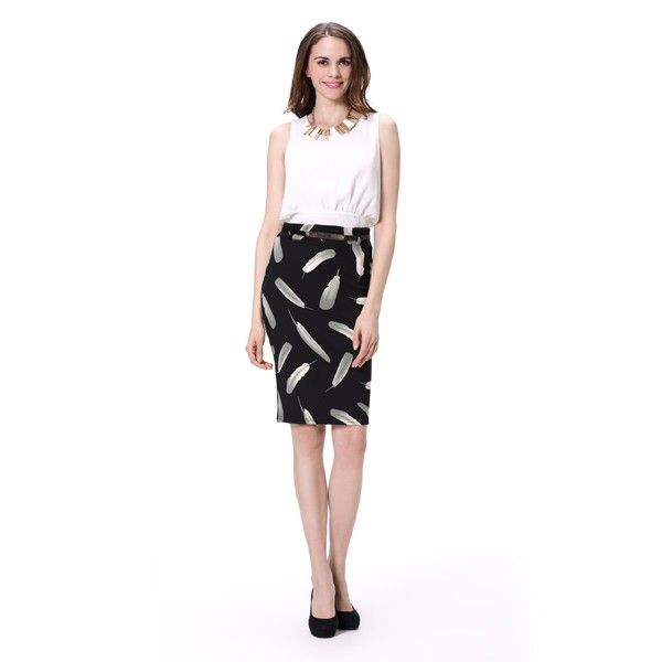 newest design printing office pencil skirt