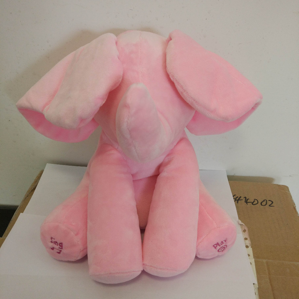 Canada Jollybaby Plush Animals Pink Elephant Pull String Musical Toys For Baby and Kids
