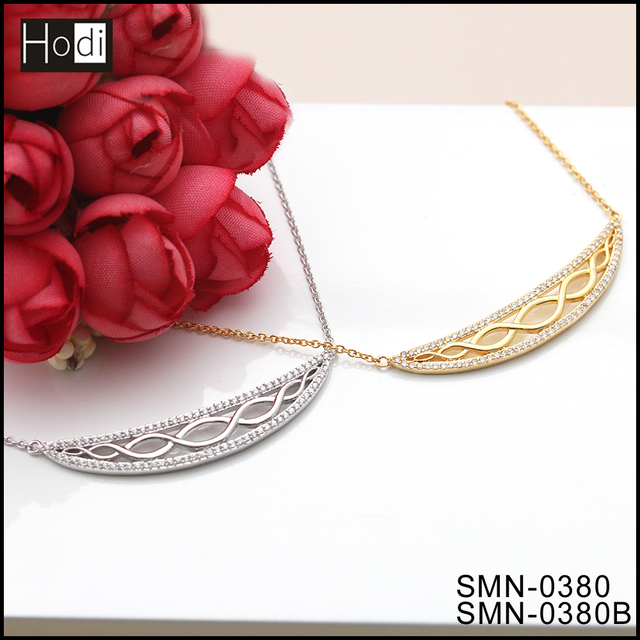 2017 European Jewellery Luxury Half Moon Custom Logo Ladies Gold Necklaces Latest New Designs in Alibaba