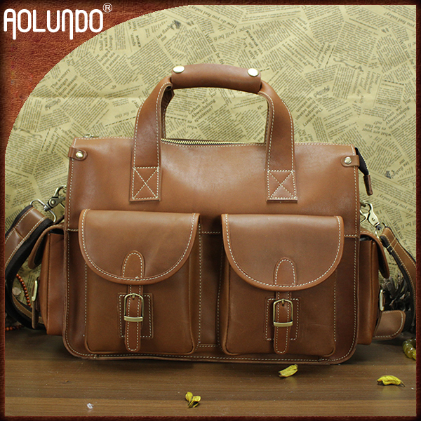 Vintage Designer Leather Shoulder Messenger Laptop Bag