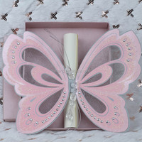 Hot sale luxurious elegant pink laser cut butterfly scroll wedding invitations