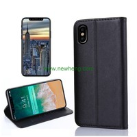 Customized leather genuine leather mobile phone case flip wallet phone case with card slots for iphone X