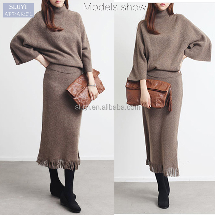 korean wholesale dresses Knit package hip high waist side slit fringed A-line elegant korean sweater dress fashion