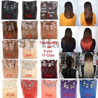 Factory Wholesale Price Cheap 100% Human Hair Clip In Hair Extension, Clip In Hair Extensions For African American