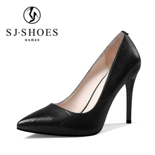 A0110 2018 fashion new ladies black genuine leather shoes safety office high heels