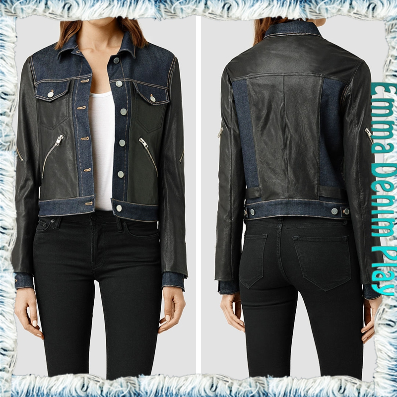 Ladies Stylish PU Leather Patchwork Jean Jacket with Zipper