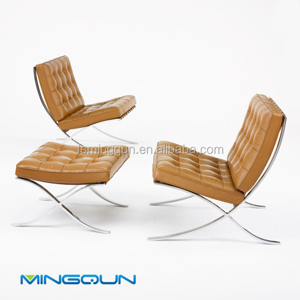 Modern Leather Barcelona Chair And Chair Frame
