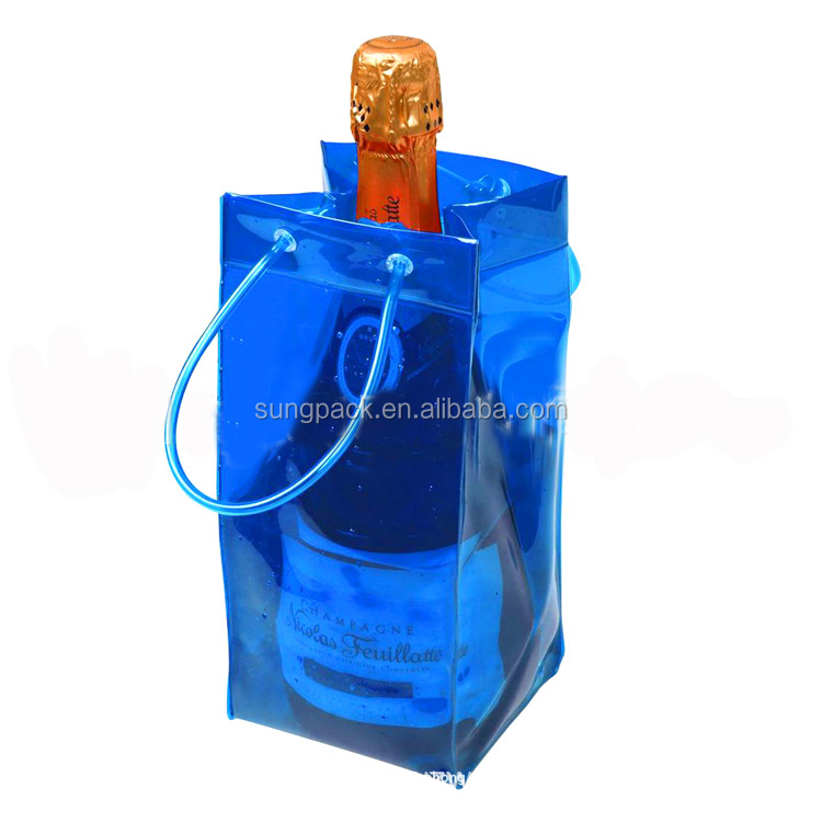 Durable Blue Plastic Wine Bag With Strong Handle Champagne Wine Cooler Bag Pouch