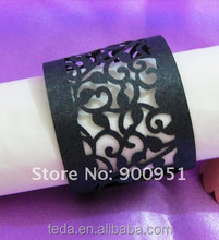 Laser cut paper shiny stars napkin rings for table decoration