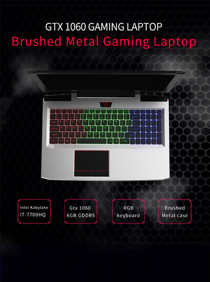 15.6 inch i7-7700HQ 8gb DDR4 128gb SSD 1TB HDD gaming laptop with GTX-1060