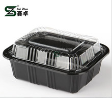 black plastic rectangle food container / disposable sushi box /plastic storage box