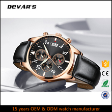 Custom Luxury Men Stainless Steel Quartz Leather Chronograph Watch