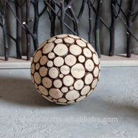 Natural And Eco-friendly Root Carving Wooden Ball for Decoration