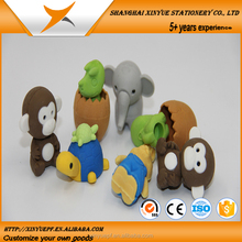 minions pencil custom printed cute 3D animal shaped erasers