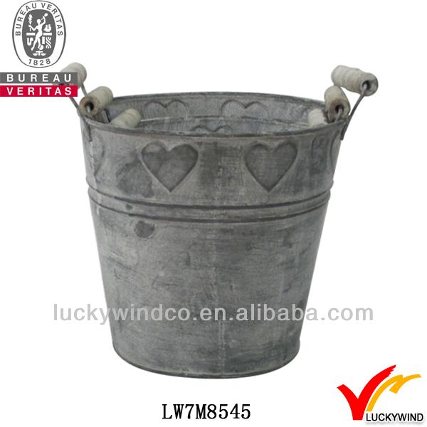 s/3 bucket heart rust antique shabby chic metal boy flower pot