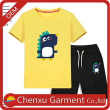 Children's summer short sleeve t shirt suits new design cartoon printing wholesale 100%cotton blank kids clothing