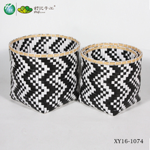 PP woven basket chequered with black and white laundry basket with bamboo top