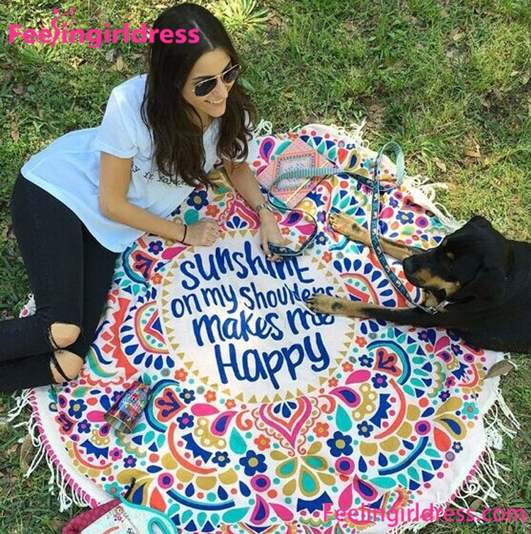 dropshipping colorful mandala printing round beach blanket wholesale